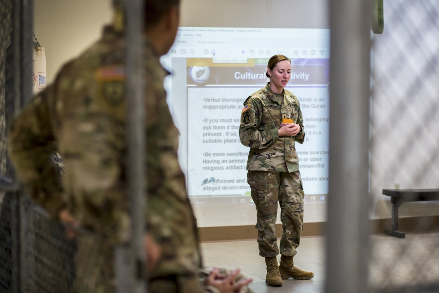 First Lieutenant Erica MacSwan teaches a cultural sensitivity session at Fort Carson in Colorado Springs, Colorado.