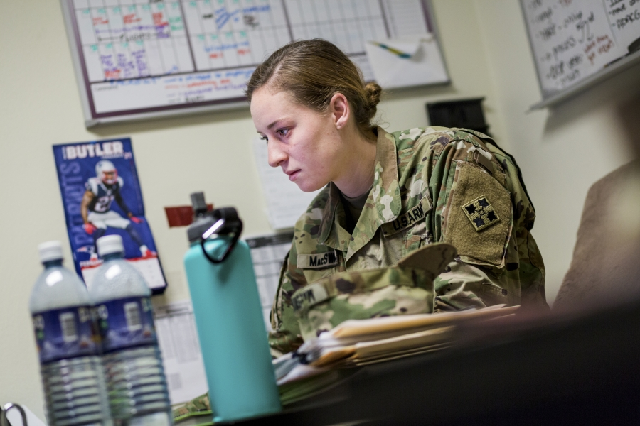 First Lieutenant Erica MacSwan at her office at Fort Carson Army base in Colorado Springs, Colorado.