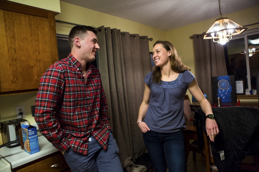 First Lieutenant Erica MacSwan and her boyfriend First Lieutenant Timothy Lynch at MacSwan's home.