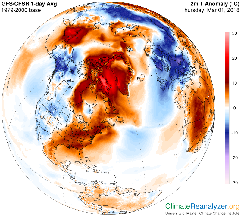 This map from the University of Maine's Climate Reanalyzer project shows the temperature divergence from the 1979-2000 average in the Arctic and most of Europe on March 1. Red areas are warmer than average, blue areas are cooler.