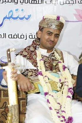 Muntaser Yaghnam in wedding attire.
