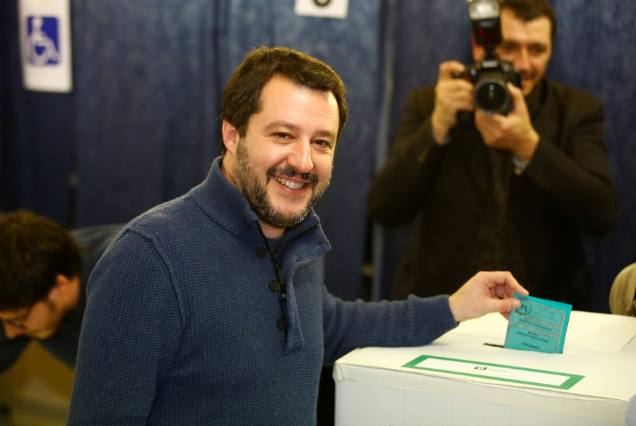 Northern League party leader Matteo Salvini casts his vote at a polling station