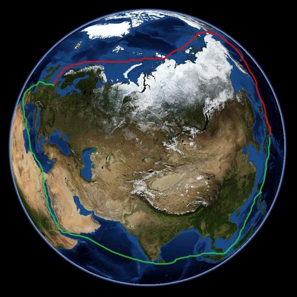 Asia to Europe shipping routes