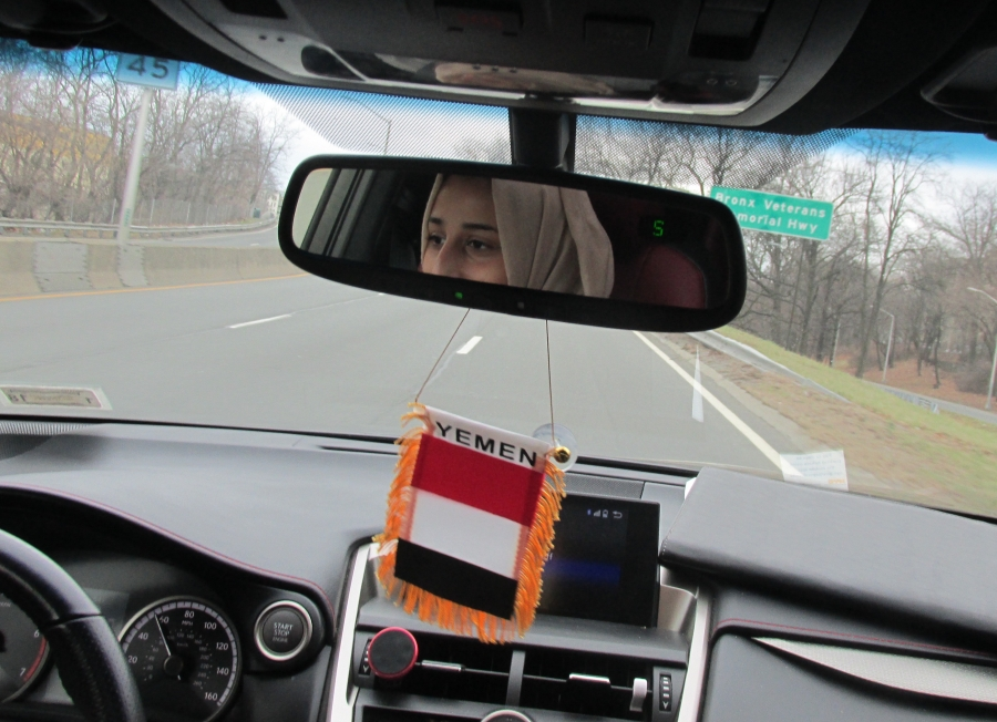Summer Nasser driving in New York.