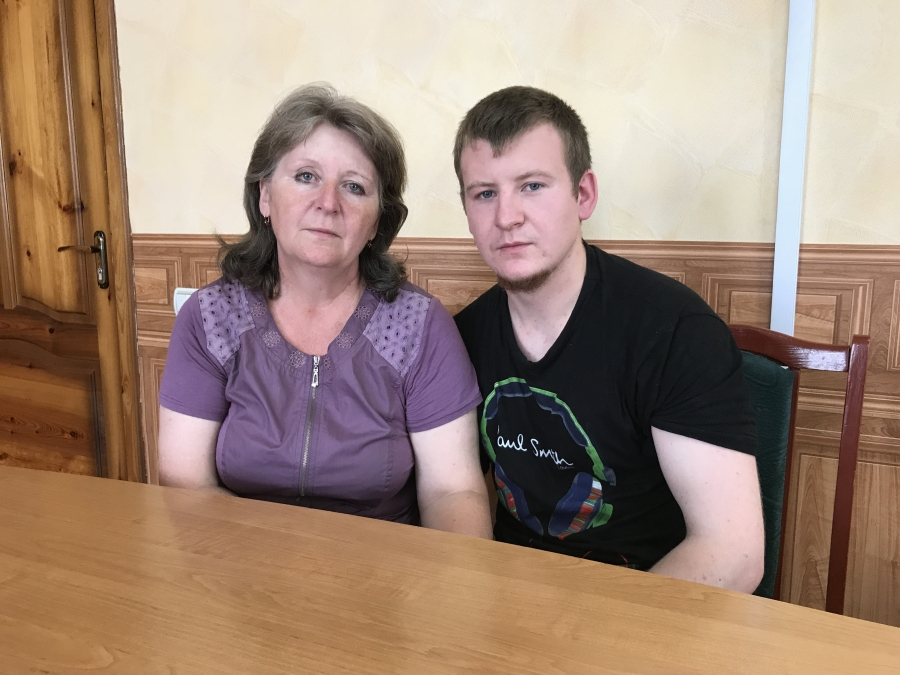 Victor Ageev and his mother in Ukraine.