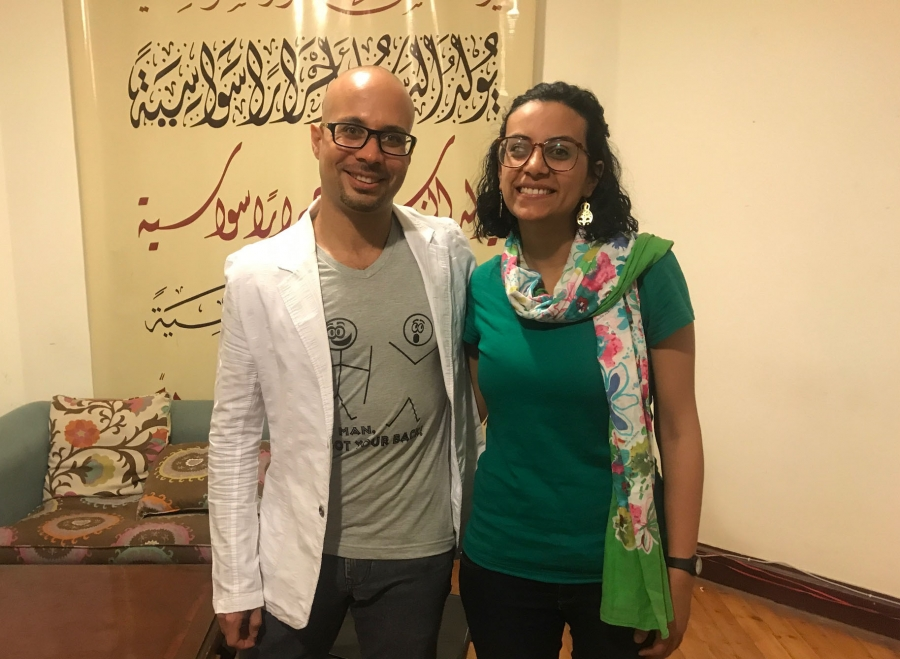 Ahmed Maher and his friend, human rights lawyer and activist Mahinour el-Masry pictured in Cairo, Egypt. Both had been jailed for their activism.