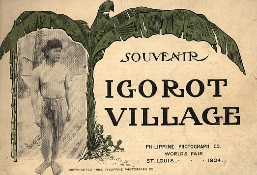"A tan postcard with an image of a man under the tree, advertising ""Igorot Village"""