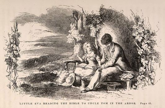 Uncle Tom sits next to Eva, the child he cares for and tends as she falls ill in Harriet Beecher Stowe's novel.