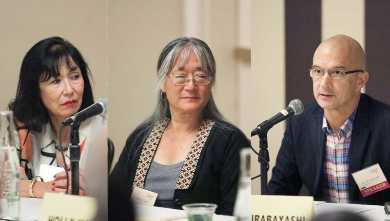 Karen Korematsu (left), Holly Yasui (middle), and Jay Hirabayashi on a panel in 2013 at the Japanese American National Museum's national conference.