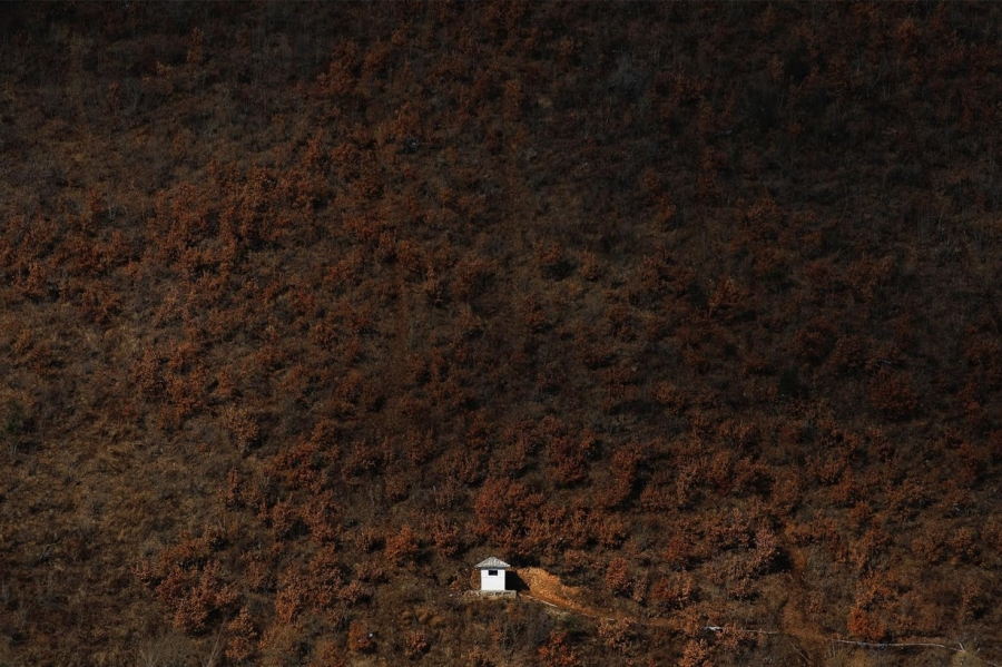 A North Korean watchtower is photographed from the Chinese side of the Yalu River east of Linjiang, China.