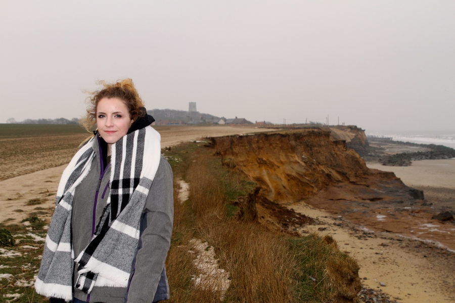 Darcy Bayless on the Happisburgh cliffs