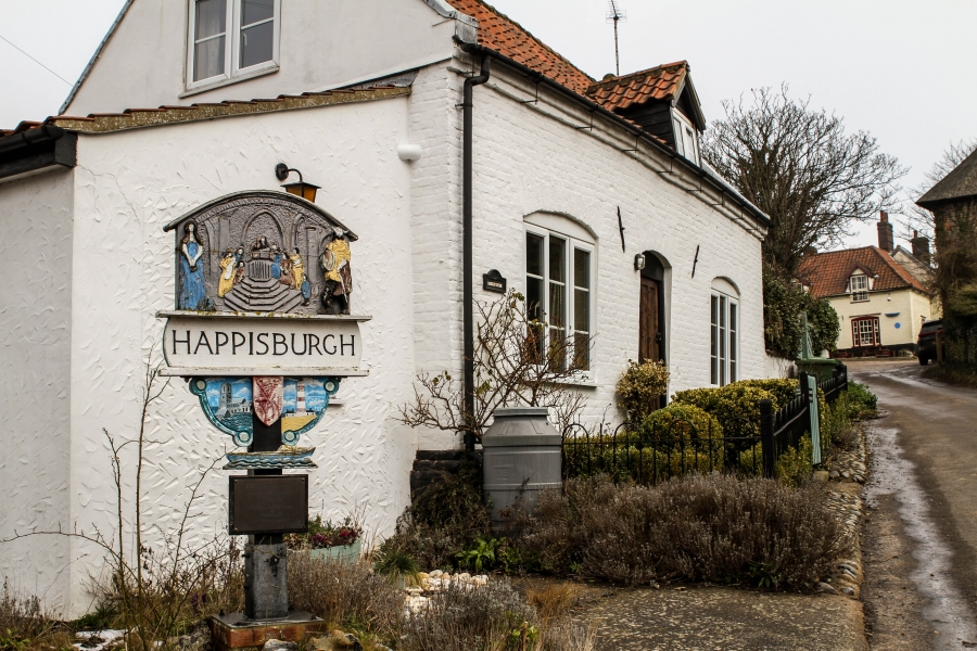 A sign in historic Happisburgh