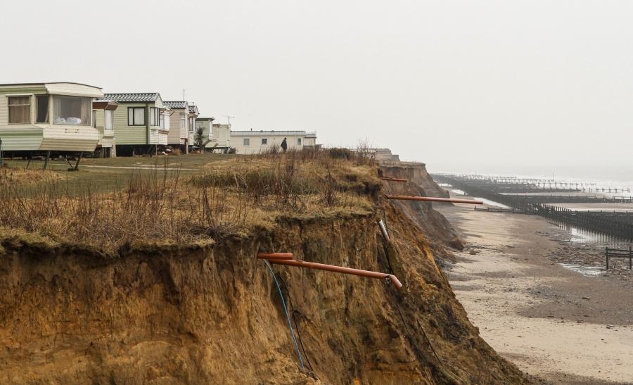 Exposed water pipes at a clifftop caravan park