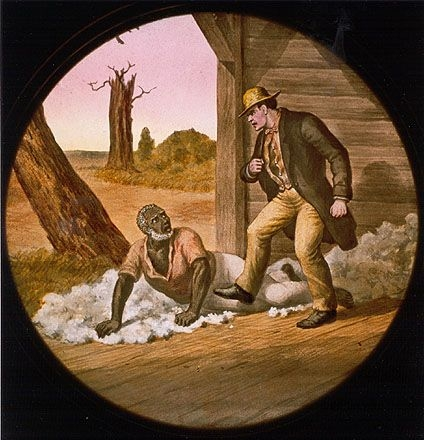 Legree threatens Tom as he is about to order Tom's fatal beating, depicted in this scene on a colored glass lantern plate. Magic lantern shows — where images were projected from glass slides in a theater — became increasingly popular to share Uncle Tom's