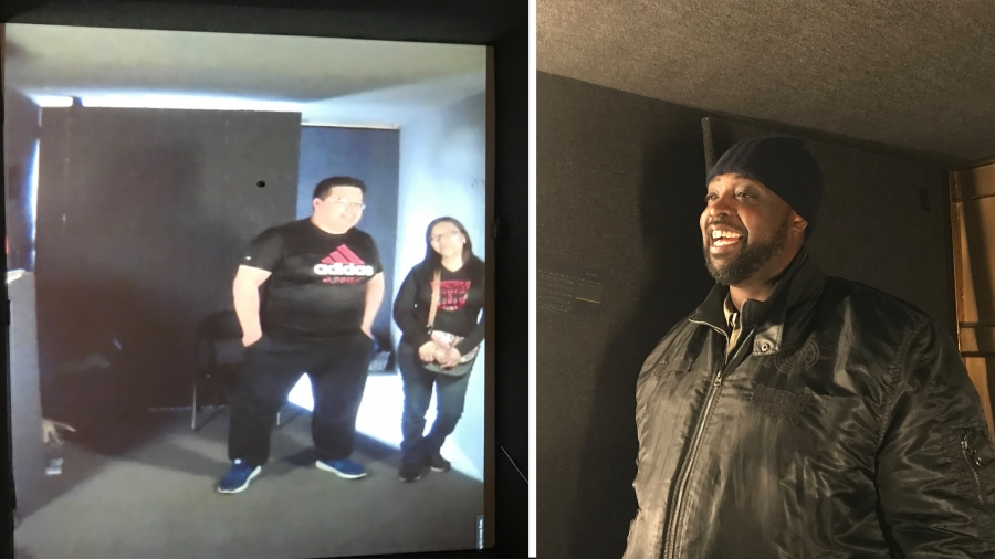 Lewis Lee, in a portal in Chicago, smiles while video-conferencing with two people, in a portal in Mexico City.