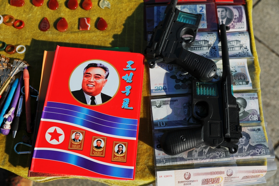 North Korean souvenirs are displayed for sale on the banks of the Yalu River in Dandong in Liaoning province, China.