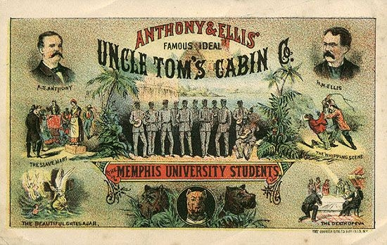 "A promotional card from the 1880s advertises the most dramatic moments in a theatrical version of ""Uncle Tom's Cabin."" The character of Tom is portrayed as feeble and elderly and the content of the novel is sensationalized to draw in an audience."