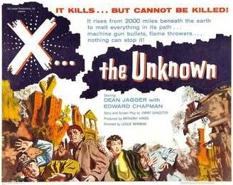 Poster for X the Unknown, a 1956 British film given an X certificate.