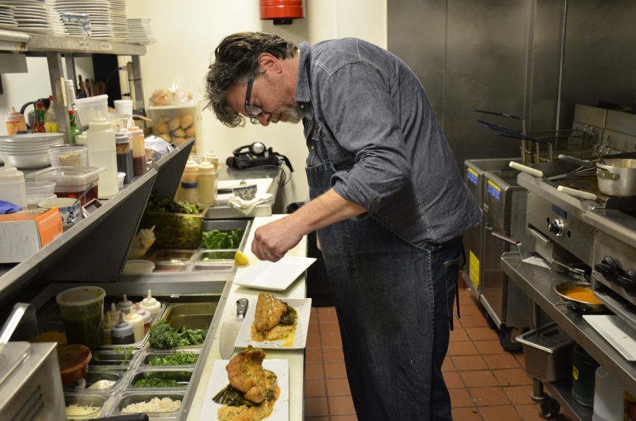 Owner and chef Jody Morphis serves up Southern-raised catfish topped with Creole sauce at his restaurant, Blue Denim in Greensboro, North Carolina. Morphis only serves domestic catfish to promote freshness.