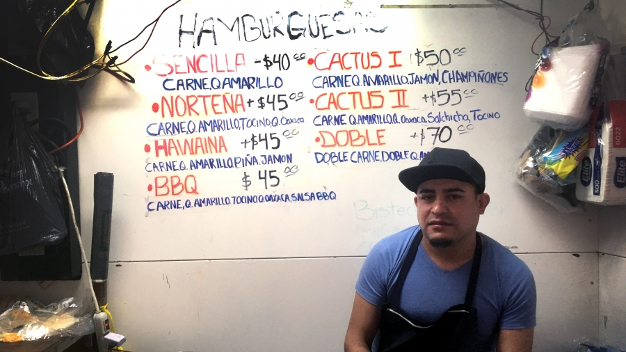 Alex Valdez, 34 at a hamburger stand