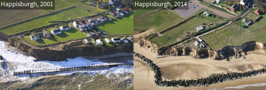 Comparison of Happisburgh coastline in 2001 and 2014