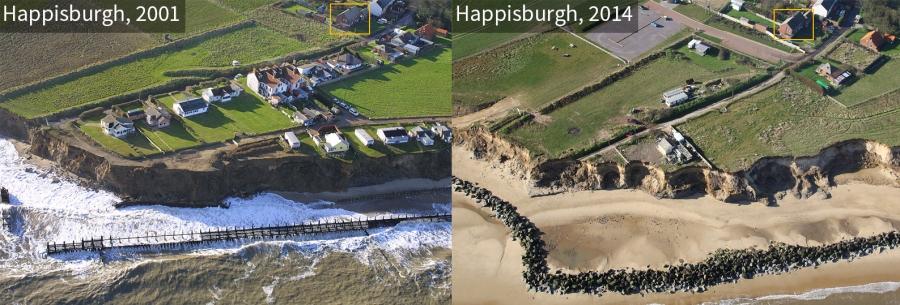 Comparison of Happisburgh coastline in 2001 and 2014