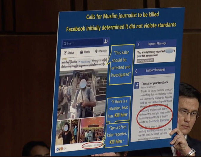 During Tuesday's hearing, Senator Patrick J. Leahy (D-Vt.) said Facebook failed to promptly take down content threatening death to a journalist.