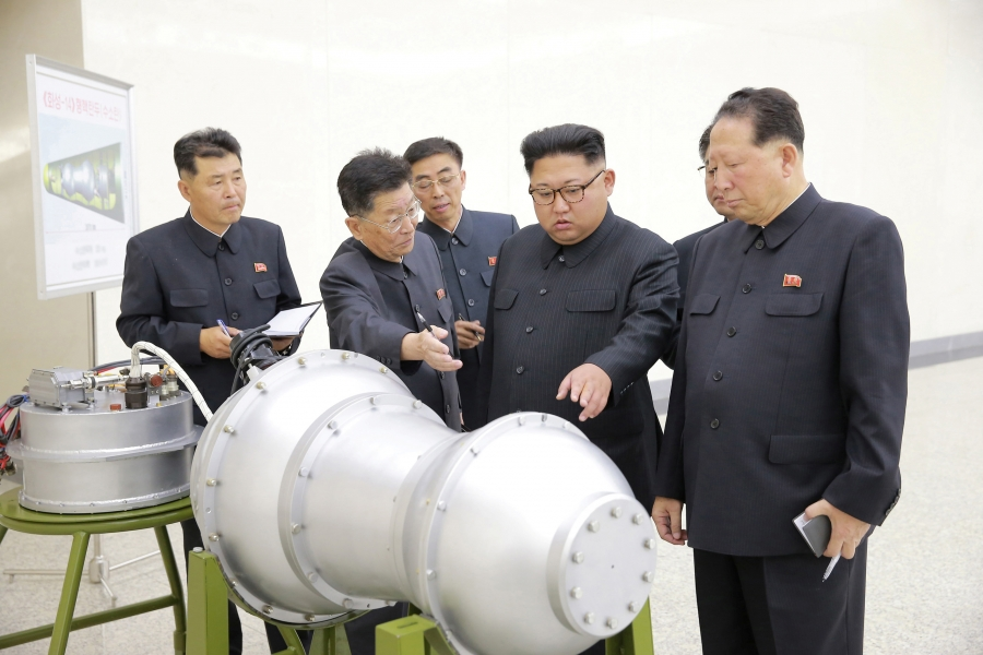 Kim Jong-un provides guidance on North Korea's nuclear weapons program in this undated photo released by North Korea's Korean Central News Agency in Pyongyang, Sept. 3, 2017.