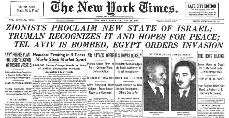 The New York Times front page on May 15, 1948.