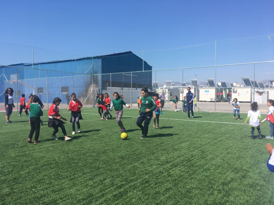 Khalida Popa training with a team of Mexican teenage girls for the Street Child World Cup