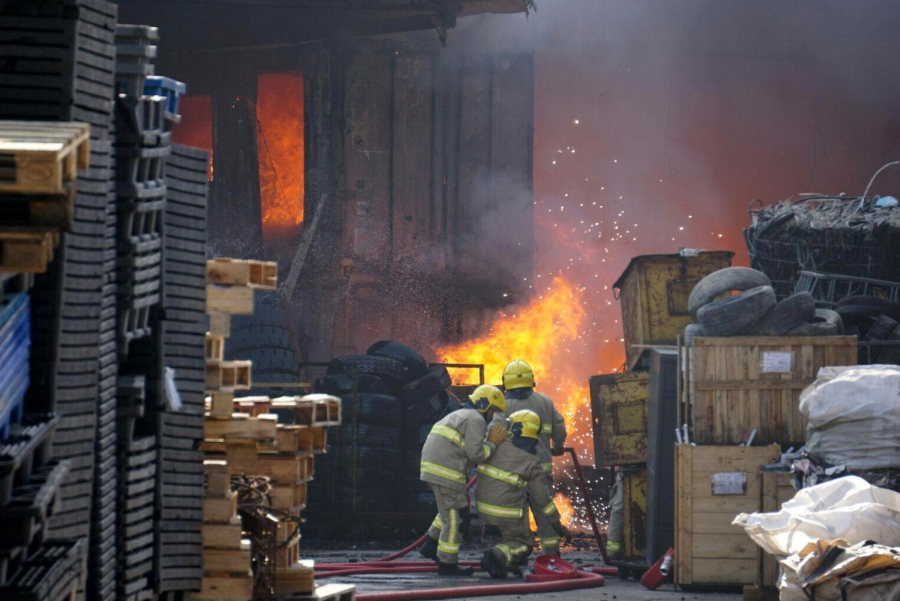 Fire broke out in an e-waste scrapyard in March in the New Territories region of Hong Kong.
