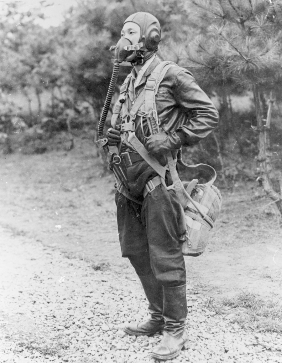 Here is No Kum Sok in his flight suit on the day he landed in South Korea. Hours after he climbed out of his MiG, US Air Force photographers asked him to pose in the suit and oxygen mask.