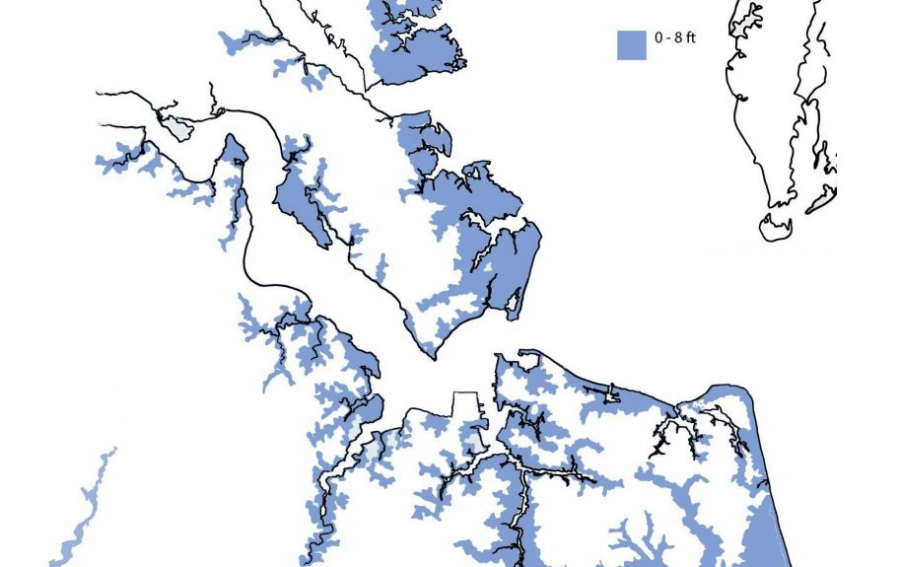 Flooding map of Norfolk