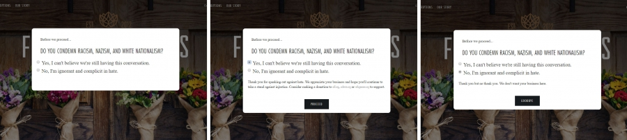 Three screenshots of website pop-up