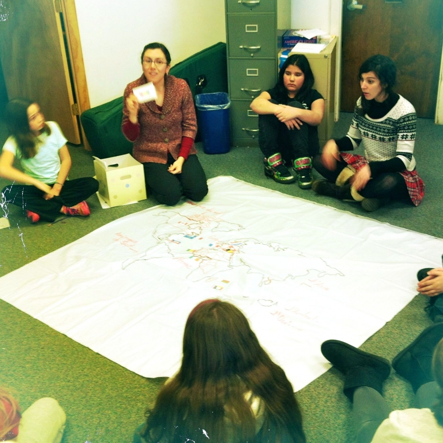 Teacher Jacynthe Jacques leads an after-school French class in Auburn, Maine