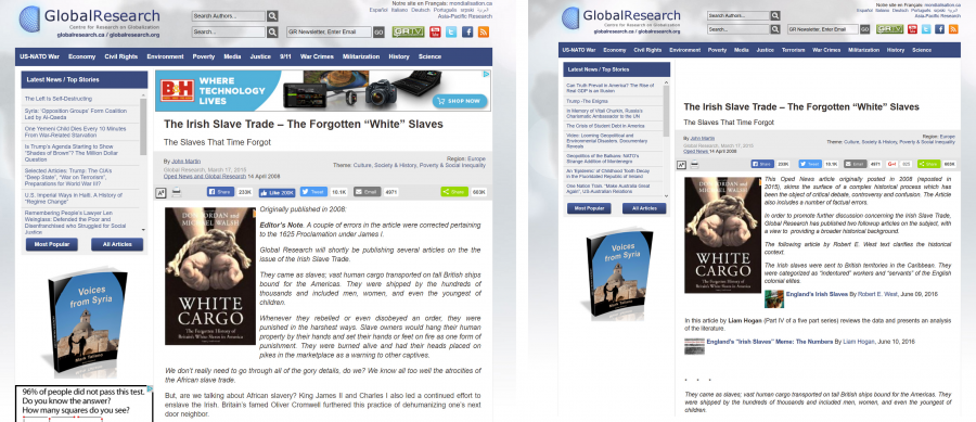 Screenshots of website showing changed editorial note on an article
