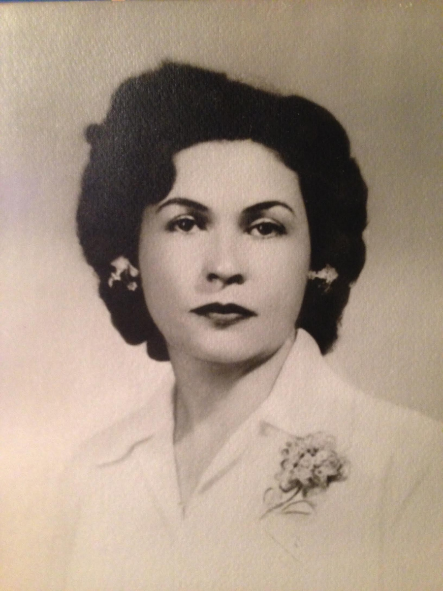 Passport photo of Hortensia Maria Campbell.