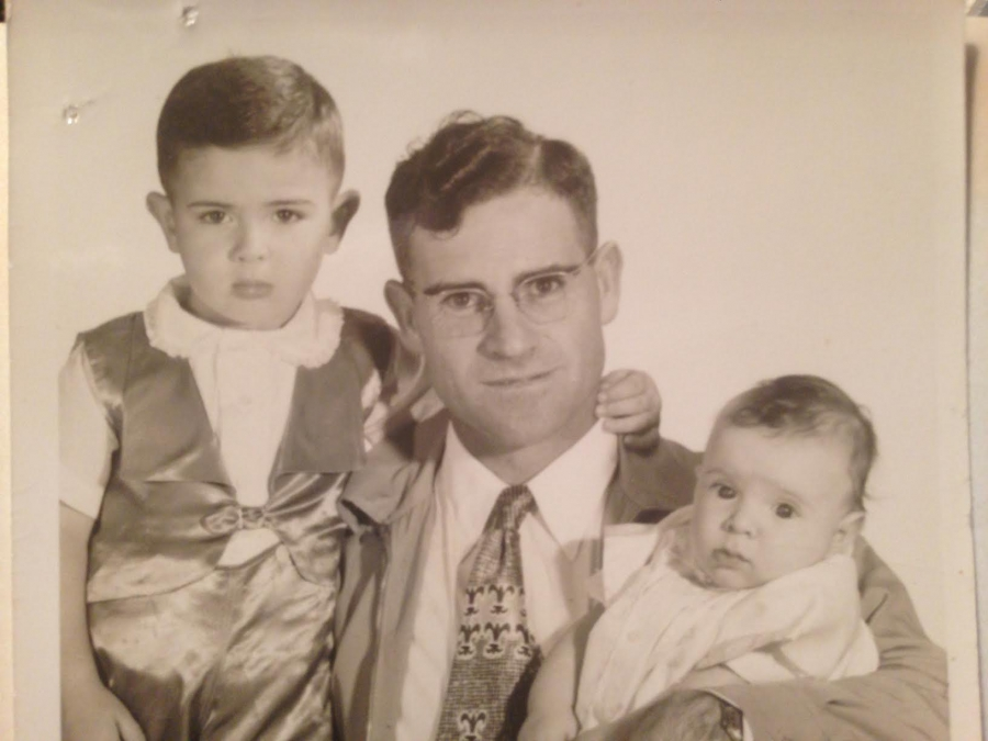 Passport photo of Lloyd Campbell and his sons John (L-wearing satin) and George (R).