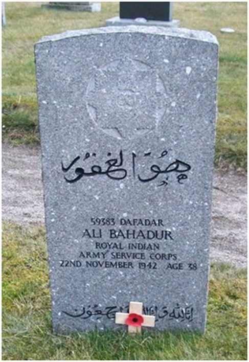 The grave of one of the 35 Indian soldiers from K6 Force who died while stationed in the UK, after Dunkirk