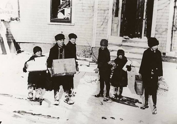 Children getting food from a relief station, Halifax, December 1917