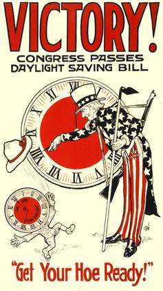 Poster celebrating enactment of daylight saving time during World War I, 1917.