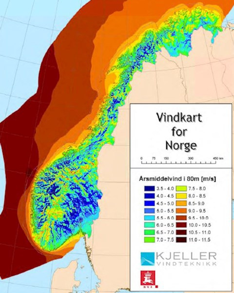 A map of onshore and offshore wind resource availability in Norway, from high (red) to low (blue).
