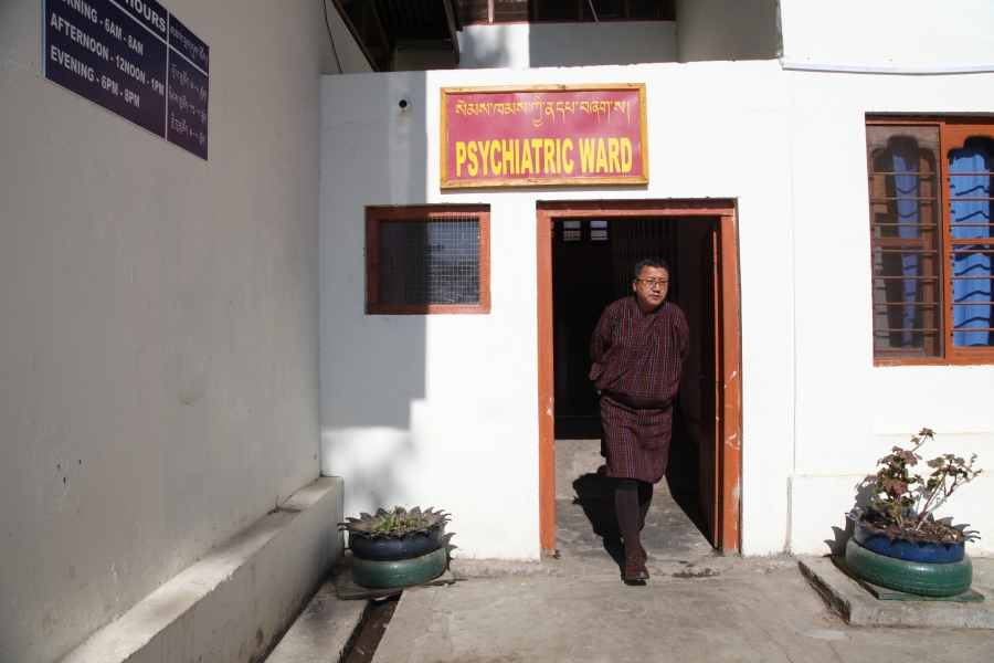 Dr. Chencho Dorji leaves the psychiatric ward in Thimphu after doing his weekly rounds. Bhutan still has only the single ward, with 18 beds.