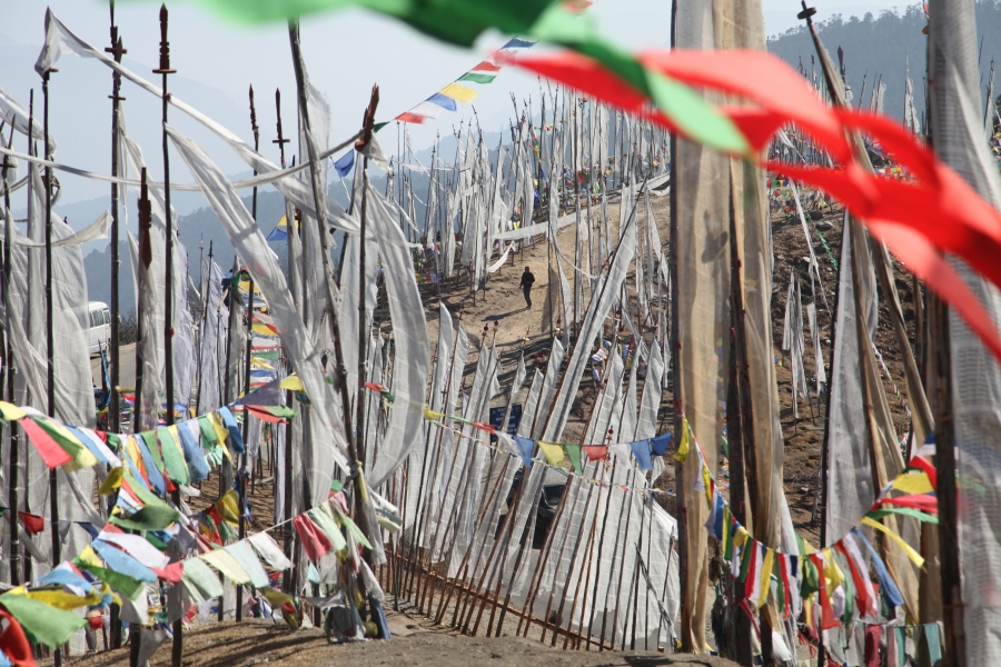 Prayer flags are seen at Chelela Pass in Bhutan. At 13,000 feet, it is the highest point accessible by road in Bhutan.
