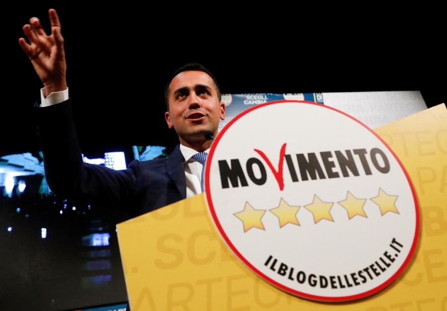 Five Star Movement leader Luigi Di Maio speaks during an electoral rally