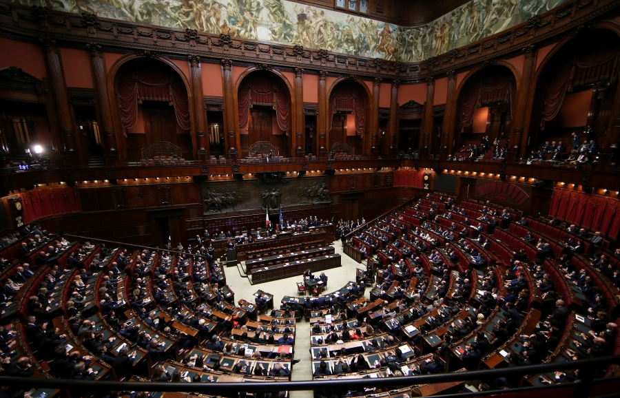 The new Chamber of Deputies president, Five Star Movement (M5S) Roberto Fico speaks at the Chamber of Deputies