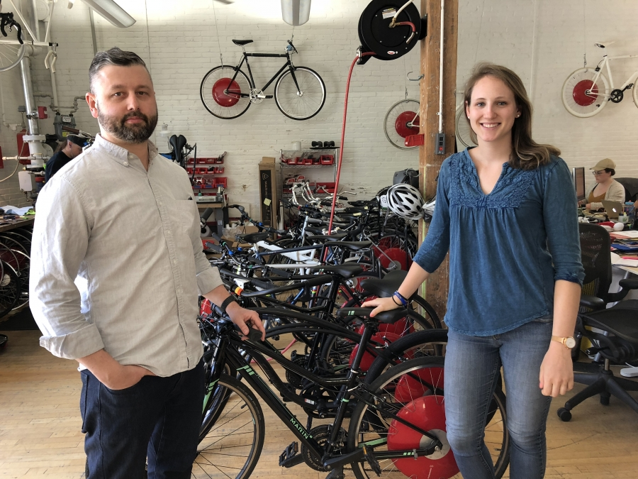 Megan Morrow and Jon O'Toole at Superpedestrian's offices in Cambridge, Mass. Customers can purchase just the wheel and put it on an existing bike, or buy an entire new bicycle.