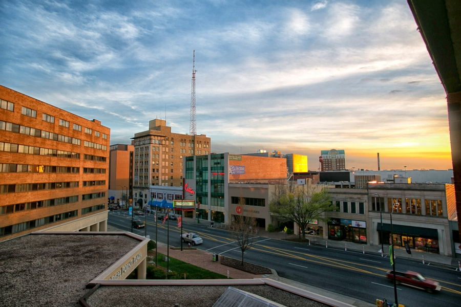 Downtown High Point. The city of 110,000 attracts nearly 80,000 visitors at its  furniture show, held twice a year.