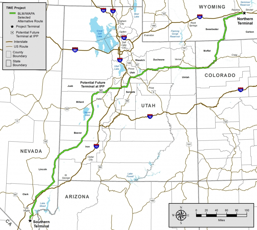 The 730-mile TransWest Express transmission line will deliver wind energy from Wyoming to California.