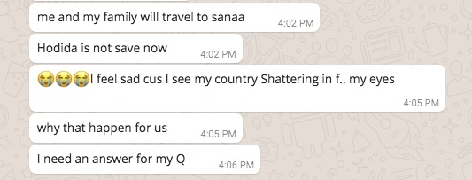 19-year-old Abrar says that her family will go to Sanaa. She says Hodeidah is not safe now.